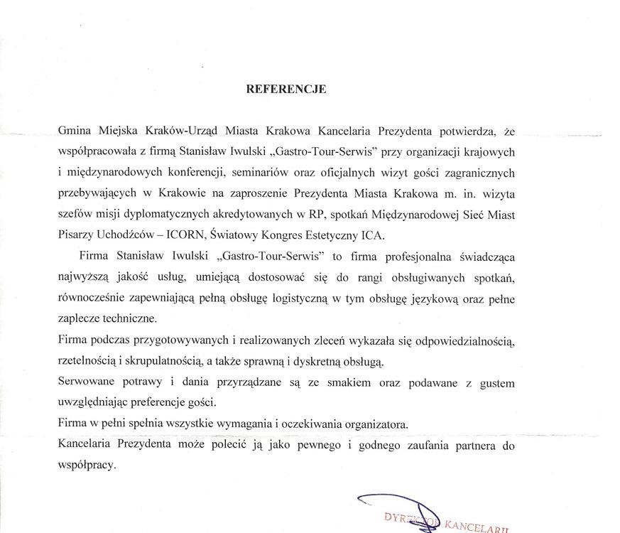 referencje Urzędu Miasta Krakowa
