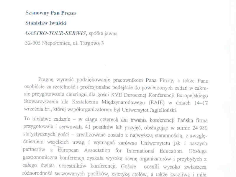 referencje Uniwersytet Jagiellonski
