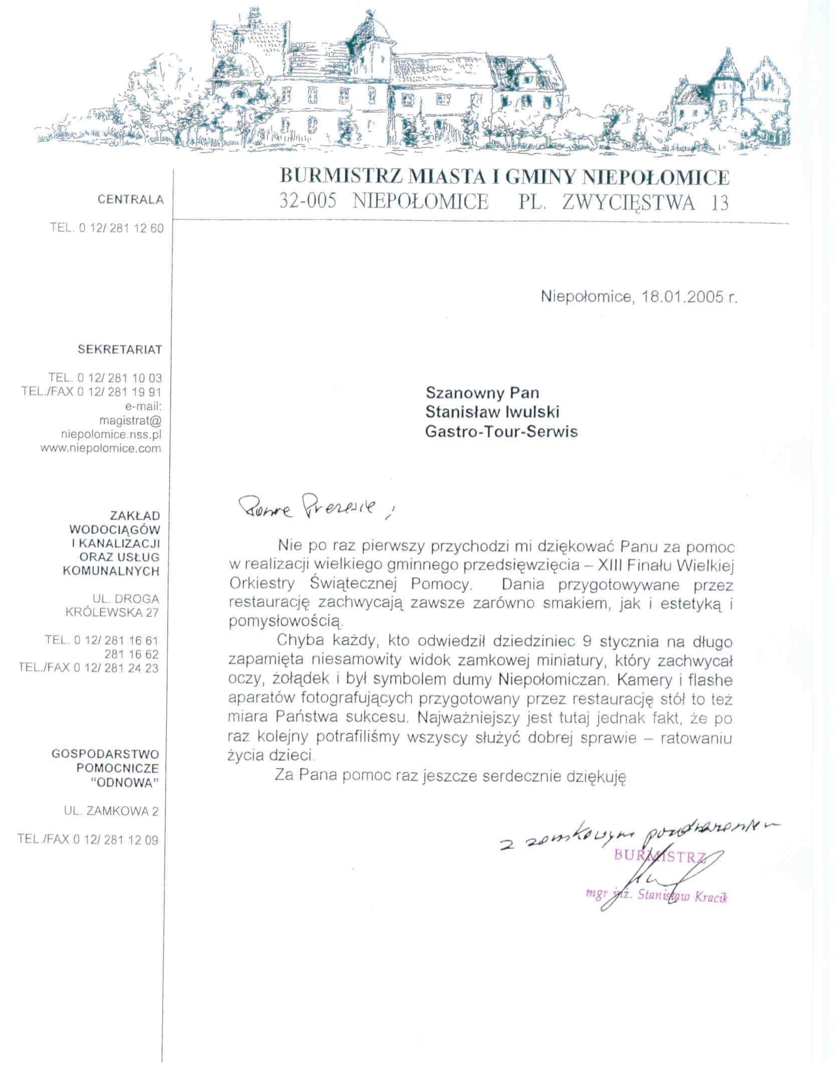 referencje Burmistrz Miasta i Gminy Niepolomice