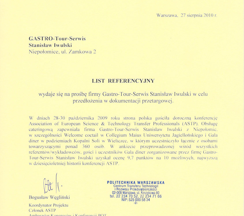 referencje Politechniki Warszawskiej
