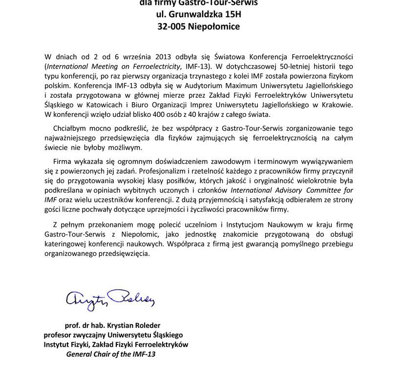 referencje Światowej Konferencji Ferroelektryczności